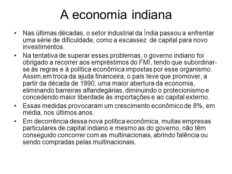 A economia indiana Nas últimas décadas, o setor industrial da Índia passou a enfrentar uma série de dificuldade, como a escassez de capital para novo