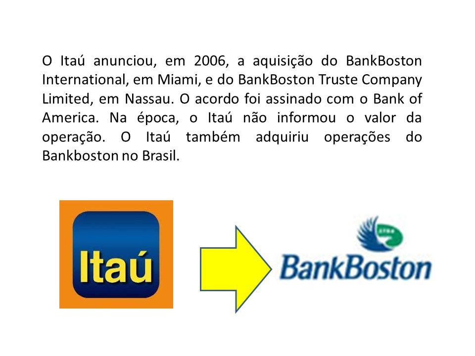 O Itaú anunciou, em 2006, a aquisição do BankBoston International, em Miami, e do BankBoston Truste Company Limited, em Nassau. O acordo foi assinado