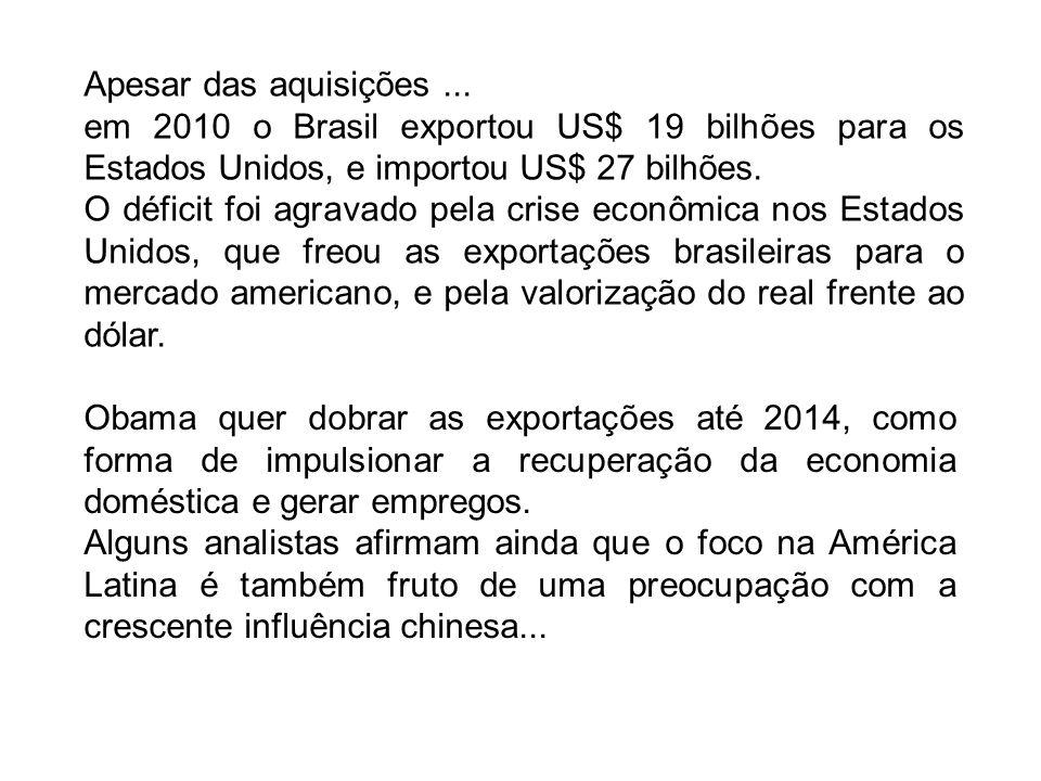 Apesar das aquisições... em 2010 o Brasil exportou US$ 19 bilhões para os Estados Unidos, e importou US$ 27 bilhões. O déficit foi agravado pela crise
