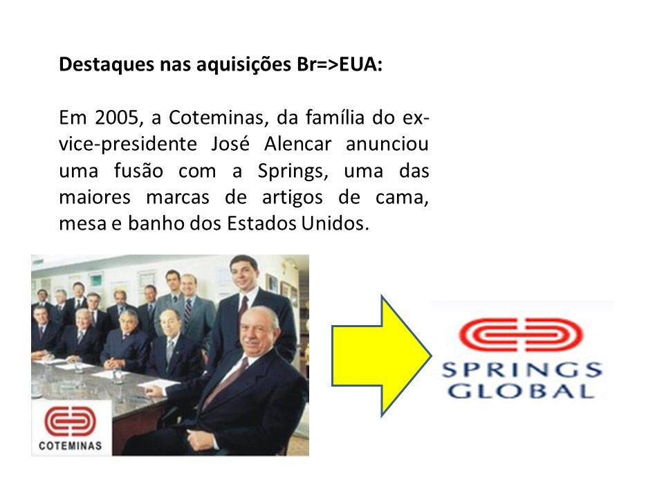 Destaques nas aquisições Br=>EUA: Em 2005, a Coteminas, da família do ex- vice-presidente José Alencar anunciou uma fusão com a Springs, uma das maior