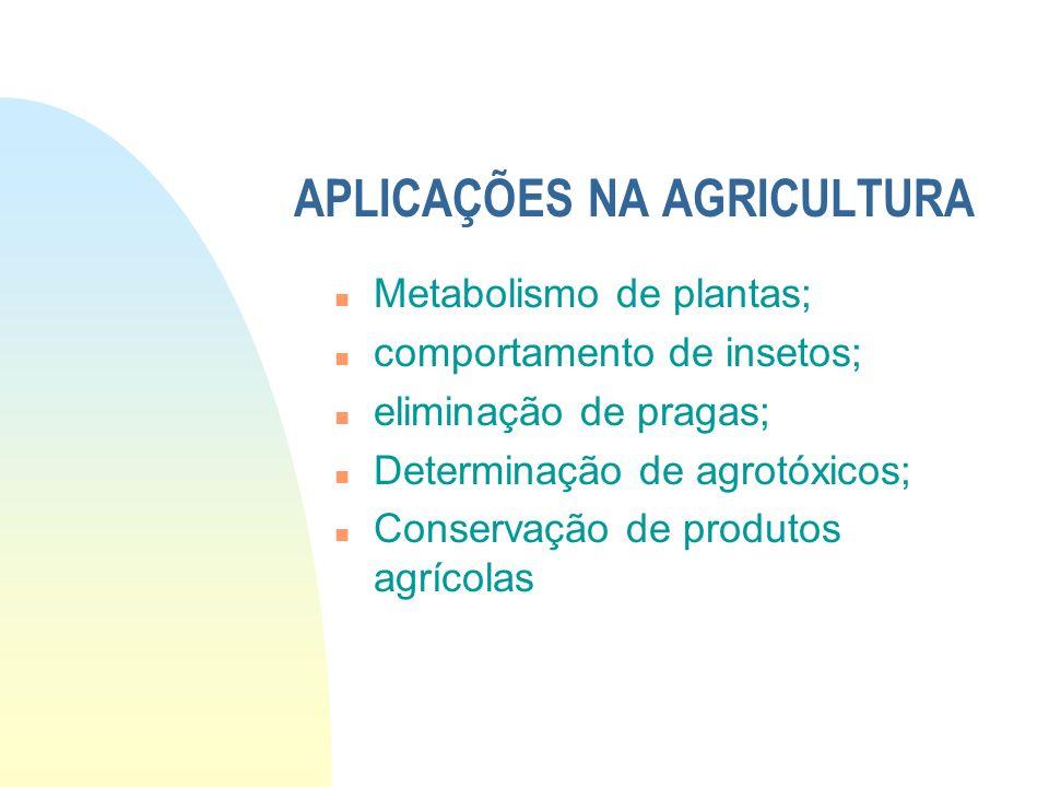 APLICAÇÕES NA AGRICULTURA n Metabolismo de plantas; n comportamento de insetos; n eliminação de pragas; n Determinação de agrotóxicos; n Conservação d