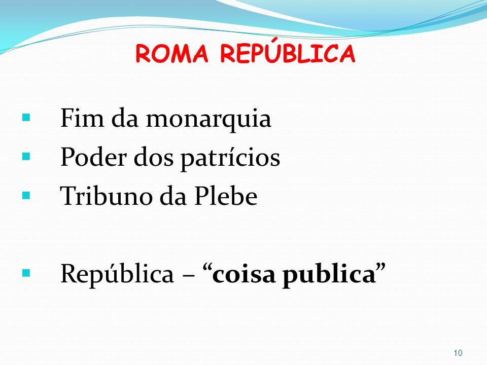 ROMA REPÚBLICA Fim da monarquia Poder dos patrícios Tribuno da Plebe República – coisa publica 10