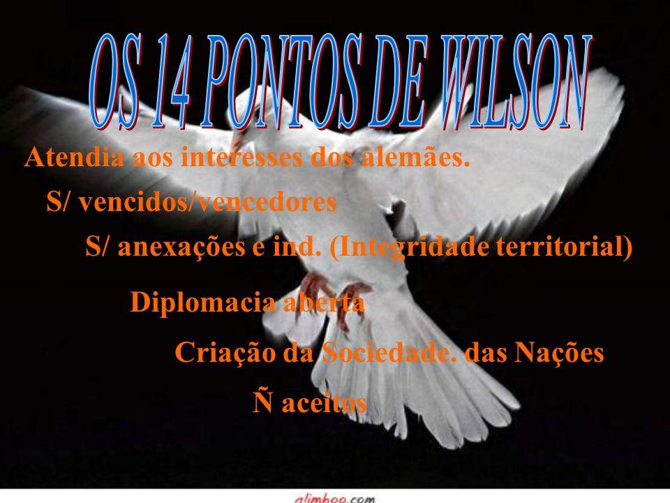 Atendia aos interesses dos alemães. S/ vencidos/vencedores S/ anexações e ind. (Integridade territorial) Diplomacia aberta Criação da Sociedade. das N
