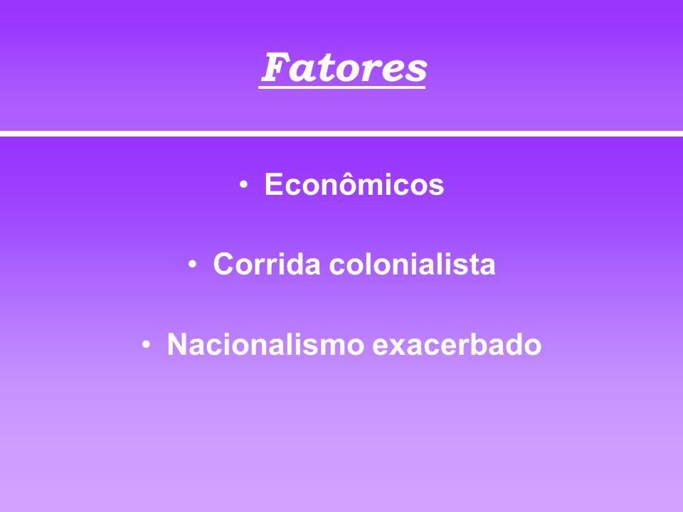 Fatores Econômicos Corrida colonialista Nacionalismo exacerbado