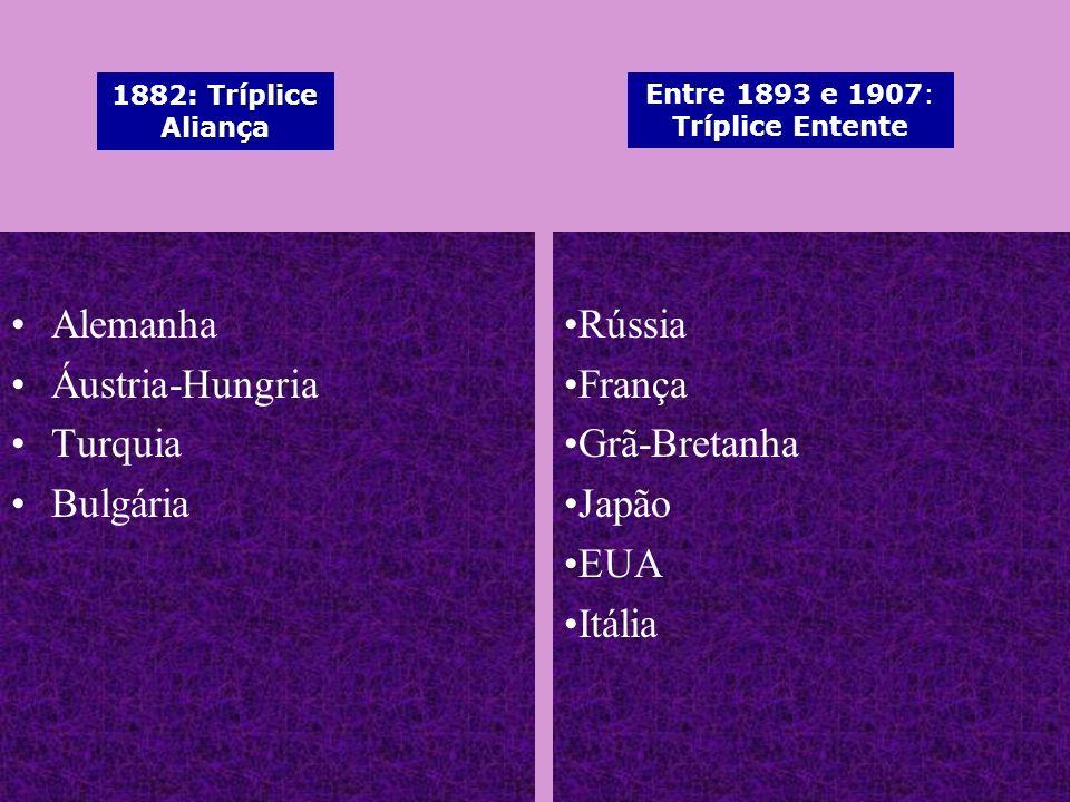 Alemanha Áustria-Hungria Turquia Bulgária Rússia França Grã-Bretanha Japão EUA Itália : Tríplice Aliança 1882: Tríplice Aliança Entre 1893 e 1907: Trí
