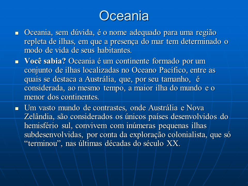 Oceania Oceania, sem dúvida, é o nome adequado para uma região repleta de ilhas, em que a presença do mar tem determinado o modo de vida de seus habit