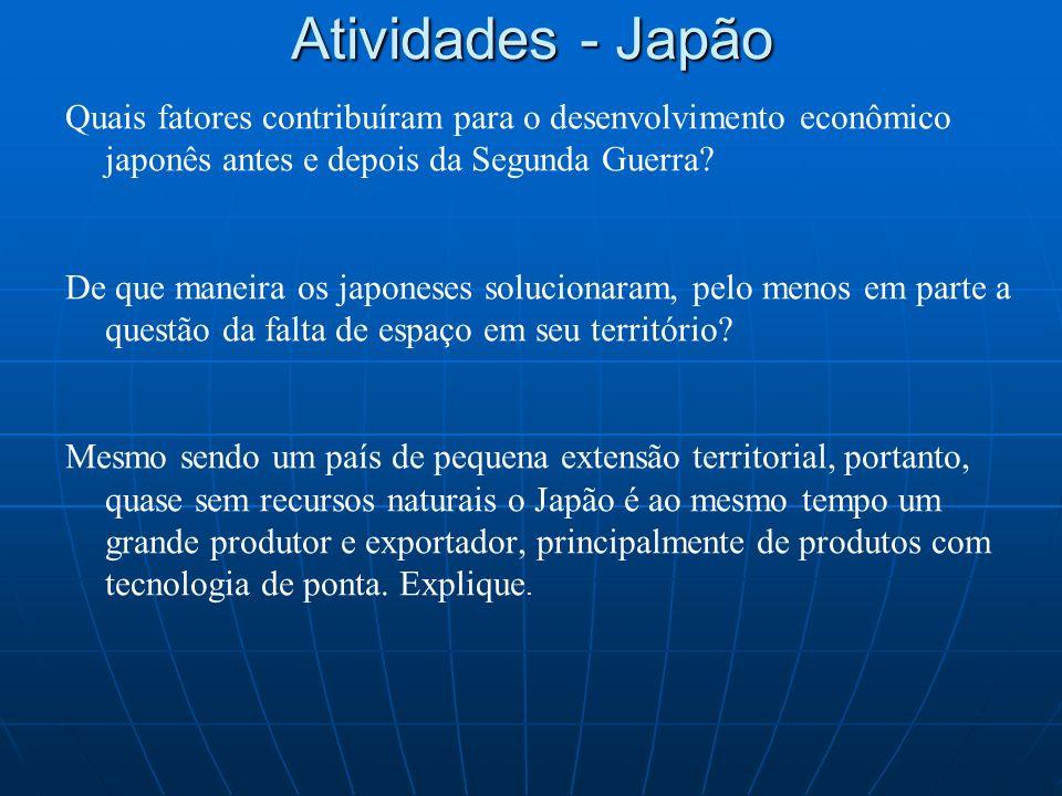 Atividades - Japão Quais fatores contribuíram para o desenvolvimento econômico japonês antes e depois da Segunda Guerra? De que maneira os japoneses s