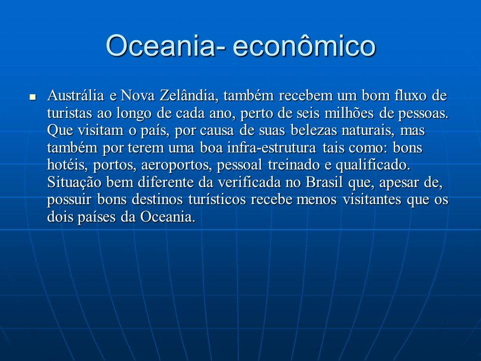 Oceania- econômico Austrália e Nova Zelândia, também recebem um bom fluxo de turistas ao longo de cada ano, perto de seis milhões de pessoas. Que visi