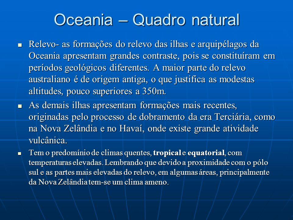 Oceania – Quadro natural Relevo- as formações do relevo das ilhas e arquipélagos da Oceania apresentam grandes contraste, pois se constituíram em perí