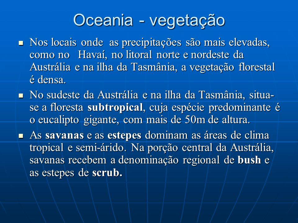 Oceania - vegetação Nos locais onde as precipitações são mais elevadas, como no Havaí, no litoral norte e nordeste da Austrália e na ilha da Tasmânia,
