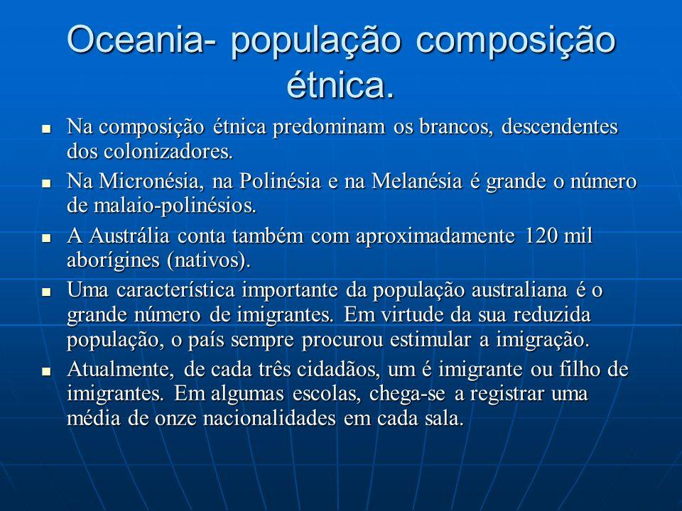 Oceania- população composição étnica. Na composição étnica predominam os brancos, descendentes dos colonizadores. Na composição étnica predominam os b