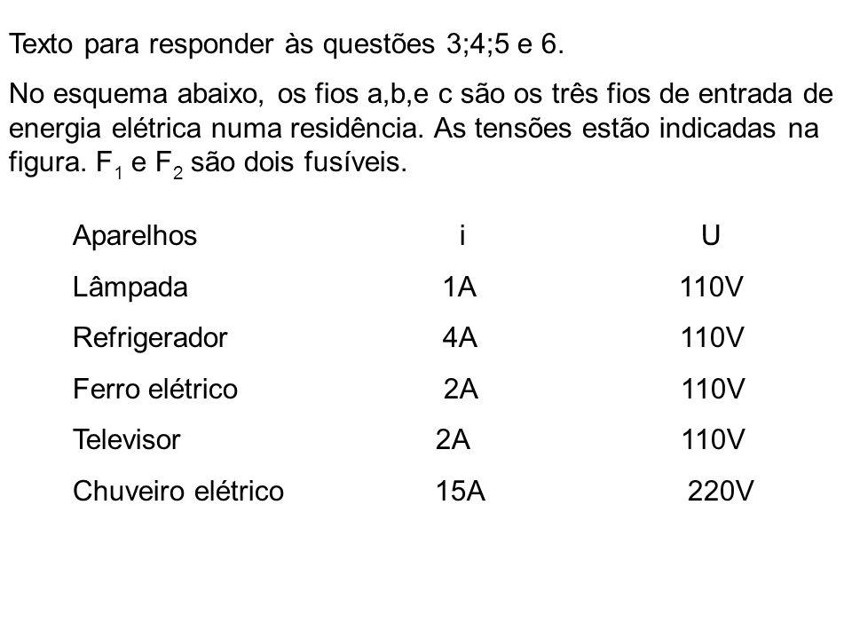 Texto para responder às questões 3;4;5 e 6. No esquema abaixo, os fios a,b,e c são os três fios de entrada de energia elétrica numa residência. As ten
