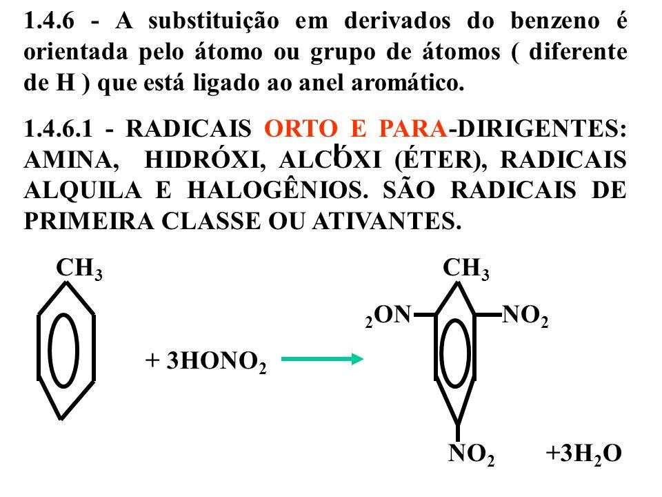 1.4.6 - A substituição em derivados do benzeno é orientada pelo átomo ou grupo de átomos ( diferente de H ) que está ligado ao anel aromático. 1.4.6.1