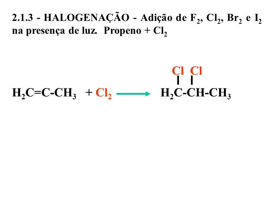 2.1.3 - HALOGENAÇÃO - Adição de F 2, Cl 2, Br 2 e I 2 na presença de luz. Propeno + Cl 2 Cl Cl H 2 C=C-CH 3 + Cl 2 H 2 C-CH-CH 3