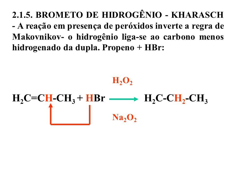 2.1.5. BROMETO DE HIDROGÊNIO - KHARASCH - A reação em presença de peróxidos inverte a regra de Makovnikov- o hidrogênio liga-se ao carbono menos hidro