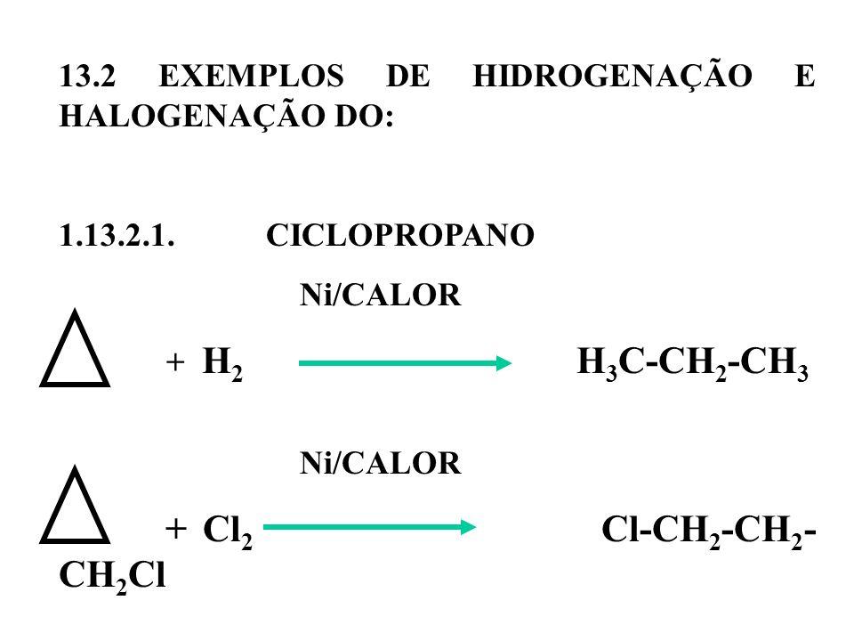 13.2 EXEMPLOS DE HIDROGENAÇÃO E HALOGENAÇÃO DO: 1.13.2.1. CICLOPROPANO Ni/CALOR + H 2 H 3 C-CH 2 -CH 3 Ni/CALOR + Cl 2 Cl-CH 2 -CH 2 - CH 2 Cl