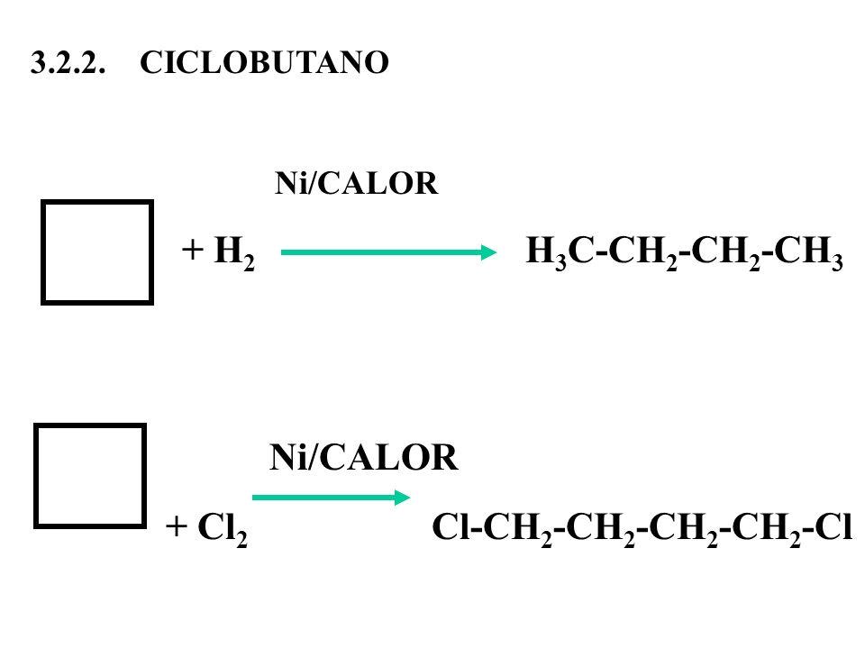 3.2.2. CICLOBUTANO Ni/CALOR + H 2 H 3 C-CH 2 -CH 2 -CH 3 Ni/CALOR + Cl 2 Cl-CH 2 -CH 2 -CH 2 -CH 2 -Cl