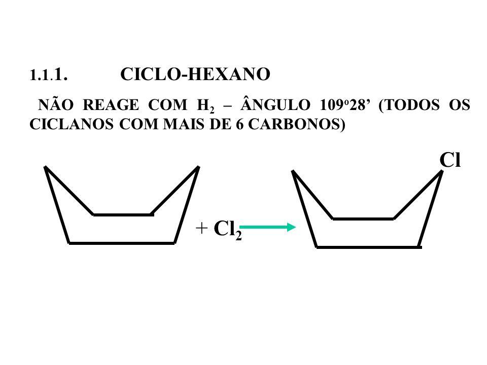 1.1. 1. CICLO-HEXANO NÃO REAGE COM H 2 – ÂNGULO 109 o 28 (TODOS OS CICLANOS COM MAIS DE 6 CARBONOS) Cl + Cl 2