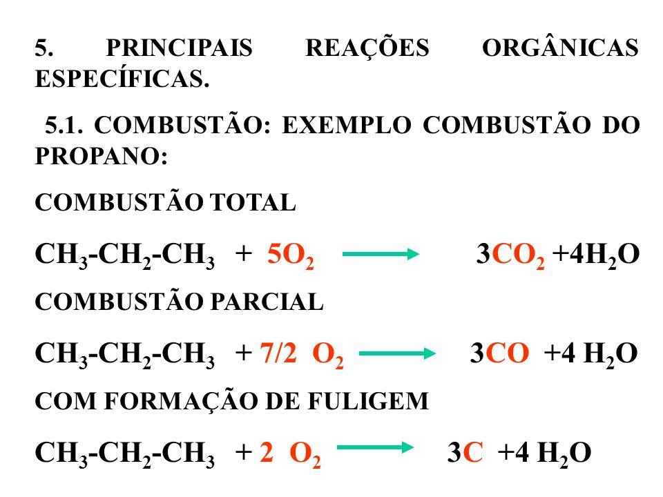 5. PRINCIPAIS REAÇÕES ORGÂNICAS ESPECÍFICAS. 5.1. COMBUSTÃO: EXEMPLO COMBUSTÃO DO PROPANO: COMBUSTÃO TOTAL CH 3 -CH 2 -CH 3 + 5O 2 3CO 2 +4H 2 O COMBU