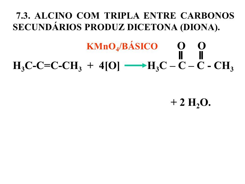 7.3. ALCINO COM TRIPLA ENTRE CARBONOS SECUNDÁRIOS PRODUZ DICETONA (DIONA). KMnO 4 /BÁSICO O O H 3 C-C=C-CH 3 + 4[O] H 3 C – C – C - CH 3 + 2 H 2 O.