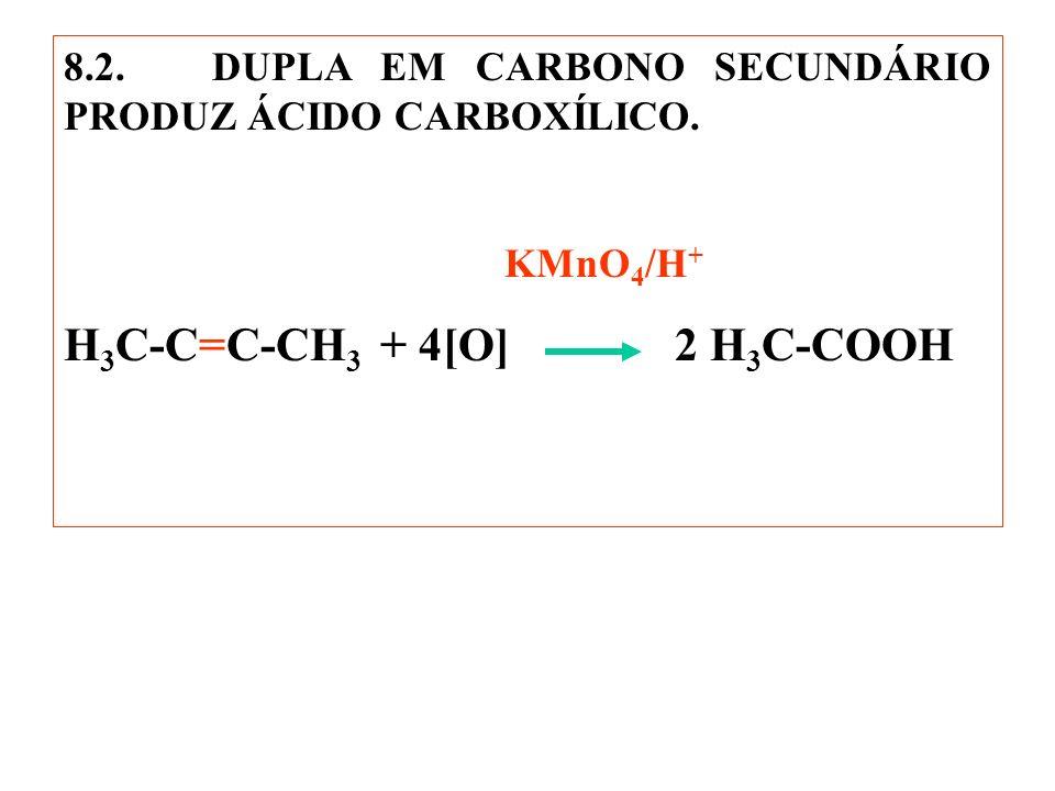 8.2. DUPLA EM CARBONO SECUNDÁRIO PRODUZ ÁCIDO CARBOXÍLICO. KMnO 4 /H + H 3 C-C=C-CH 3 + 4[O] 2 H 3 C-COOH