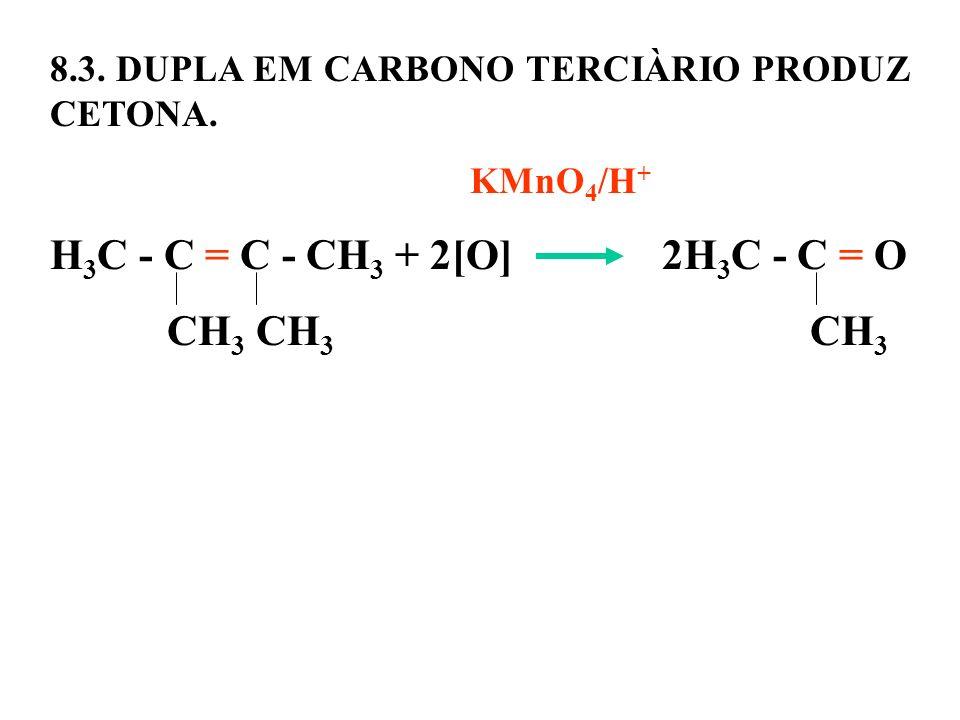 8.3. DUPLA EM CARBONO TERCIÀRIO PRODUZ CETONA. KMnO 4 /H + H 3 C - C = C - CH 3 + 2[O] 2H 3 C - C = O CH 3 CH 3 CH 3