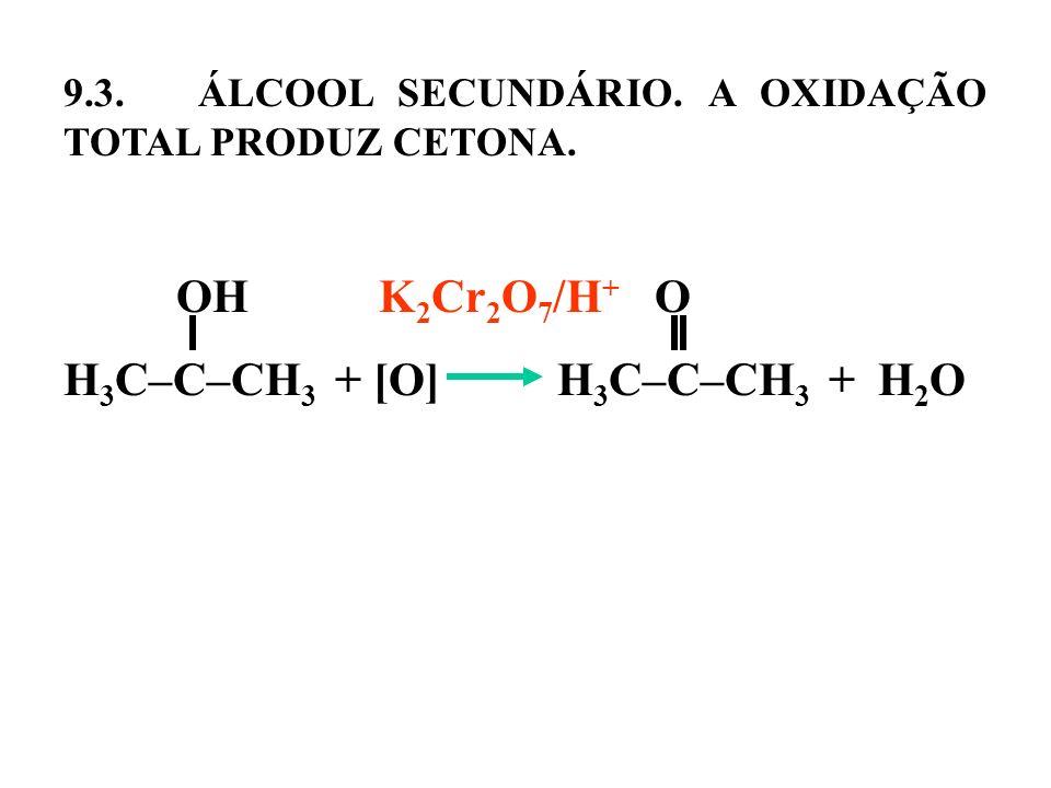 9.3. ÁLCOOL SECUNDÁRIO. A OXIDAÇÃO TOTAL PRODUZ CETONA. OHK 2 Cr 2 O 7 /H + O H 3 C–C–CH 3 + [O] H 3 C–C–CH 3 + H 2 O