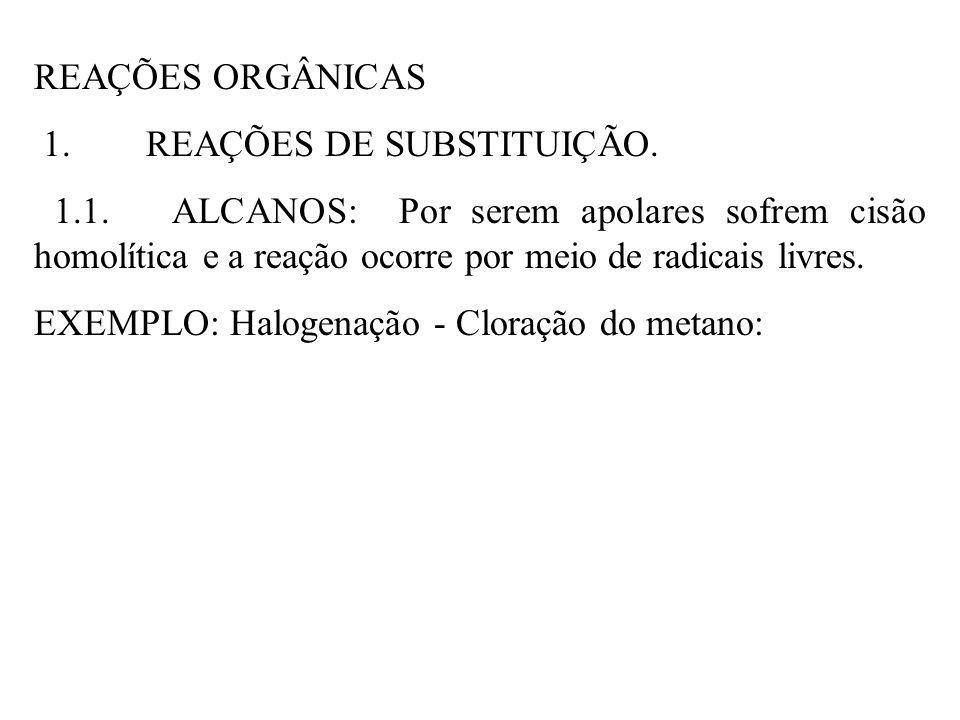 REAÇÕES ORGÂNICAS 1. REAÇÕES DE SUBSTITUIÇÃO. 1.1. ALCANOS: Por serem apolares sofrem cisão homolítica e a reação ocorre por meio de radicais livres.