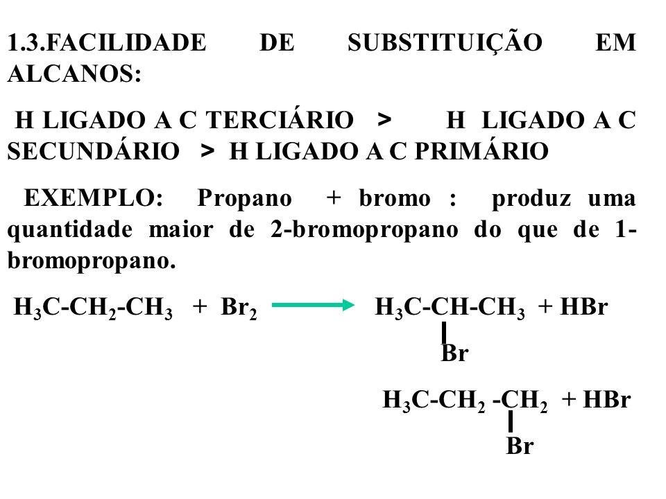 1.3.FACILIDADE DE SUBSTITUIÇÃO EM ALCANOS: H LIGADO A C TERCIÁRIO > H LIGADO A C SECUNDÁRIO > H LIGADO A C PRIMÁRIO EXEMPLO: Propano + bromo : produz