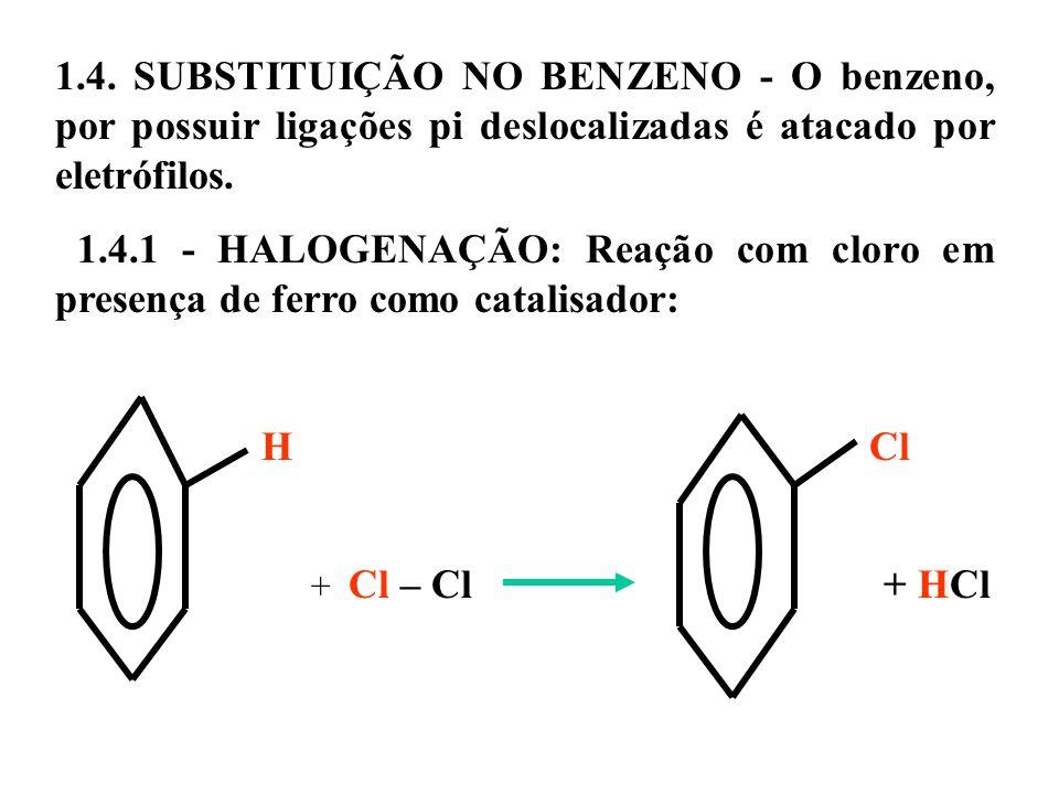 1.4. SUBSTITUIÇÃO NO BENZENO - O benzeno, por possuir ligações pi deslocalizadas é atacado por eletrófilos. 1.4.1 - HALOGENAÇÃO: Reação com cloro em p