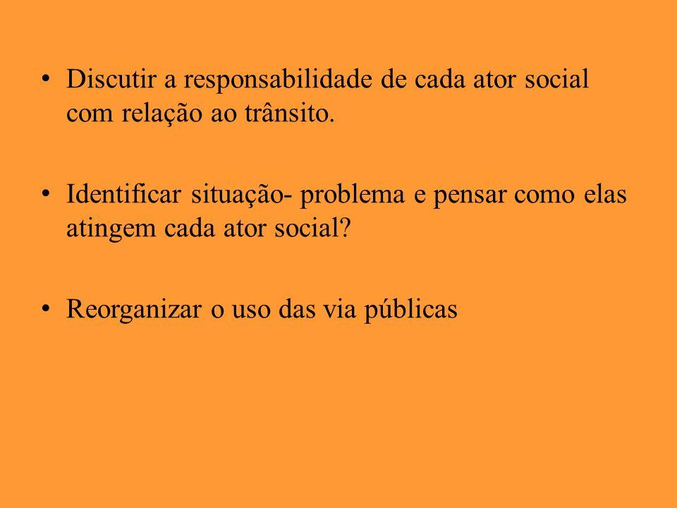 Discutir a responsabilidade de cada ator social com relação ao trânsito. Identificar situação- problema e pensar como elas atingem cada ator social? R
