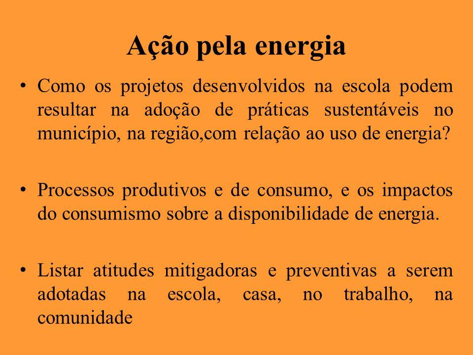 Ação pela energia Como os projetos desenvolvidos na escola podem resultar na adoção de práticas sustentáveis no município, na região,com relação ao us
