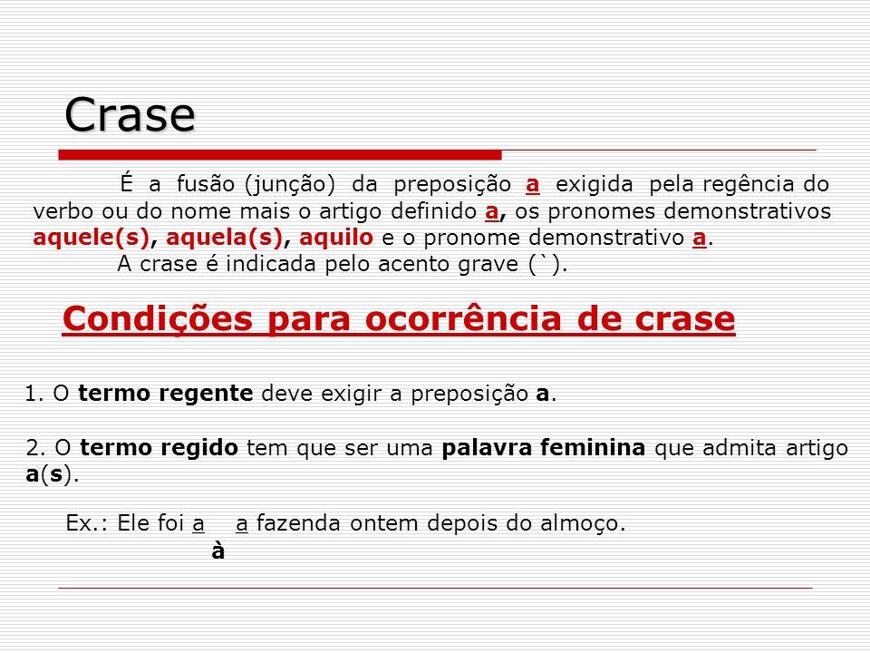 Crase É a fusão (junção) da preposição a exigida pela regência do verbo ou do nome mais o artigo definido a, os pronomes demonstrativos aquele(s), aqu