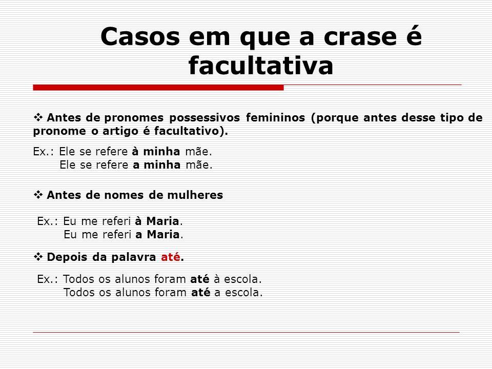 Casos em que a crase é facultativa Antes de pronomes possessivos femininos (porque antes desse tipo de pronome o artigo é facultativo). Ex.: Ele se re