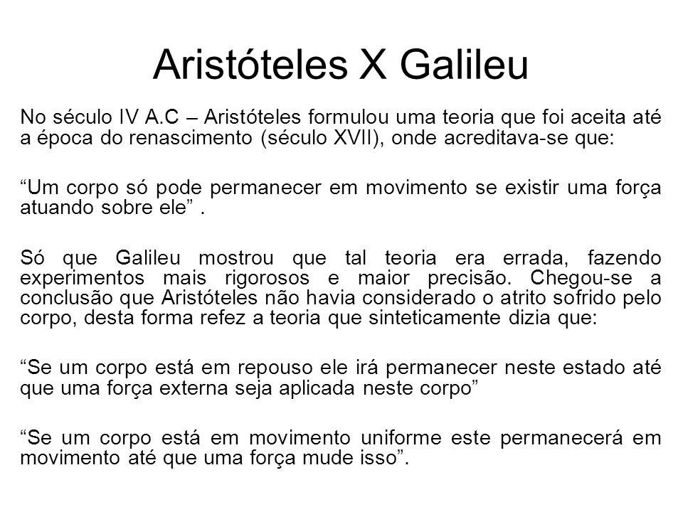Aristóteles X Galileu No século IV A.C – Aristóteles formulou uma teoria que foi aceita até a época do renascimento (século XVII), onde acreditava-se