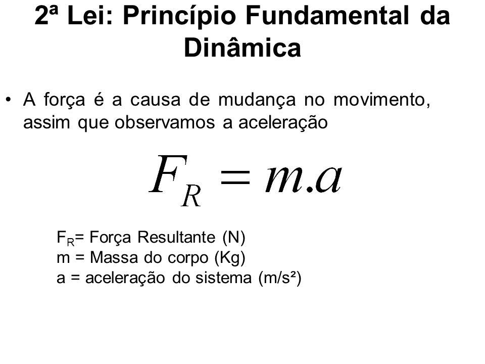 2ª Lei: Princípio Fundamental da Dinâmica A força é a causa de mudança no movimento, assim que observamos a aceleração F R = Força Resultante (N) m =