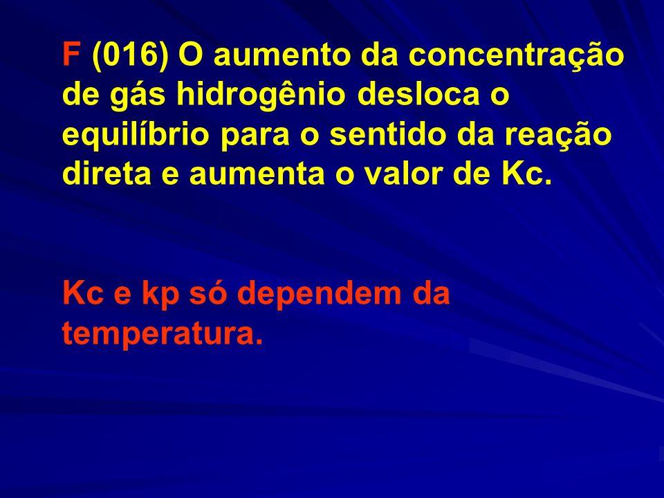 F (016) O aumento da concentração de gás hidrogênio desloca o equilíbrio para o sentido da reação direta e aumenta o valor de Kc.