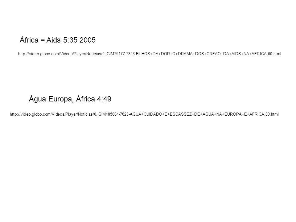 http://video.globo.com/Videos/Player/Noticias/0,,GIM75177-7823-FILHOS+DA+DOR+O+DRAMA+DOS+ORFAO+DA+AIDS+NA+AFRICA,00.html África = Aids 5:35 2005 http: