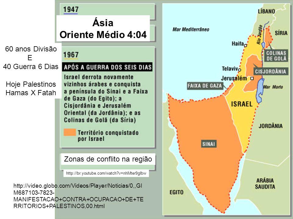 Ásia Oriente Médio 4:04 http://br.youtube.com/watch?v=nhMter9gIbw Zonas de conflito na região 60 anos Divisão E 40 Guerra 6 Dias Hoje Palestinos Hamas
