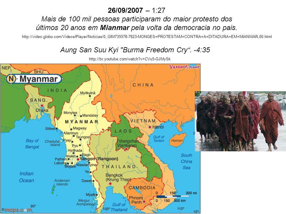 26/09/2007 – 1:27 Mais de 100 mil pessoas participaram do maior protesto dos últimos 20 anos em Mianmar pela volta da democracia no pais. http://video
