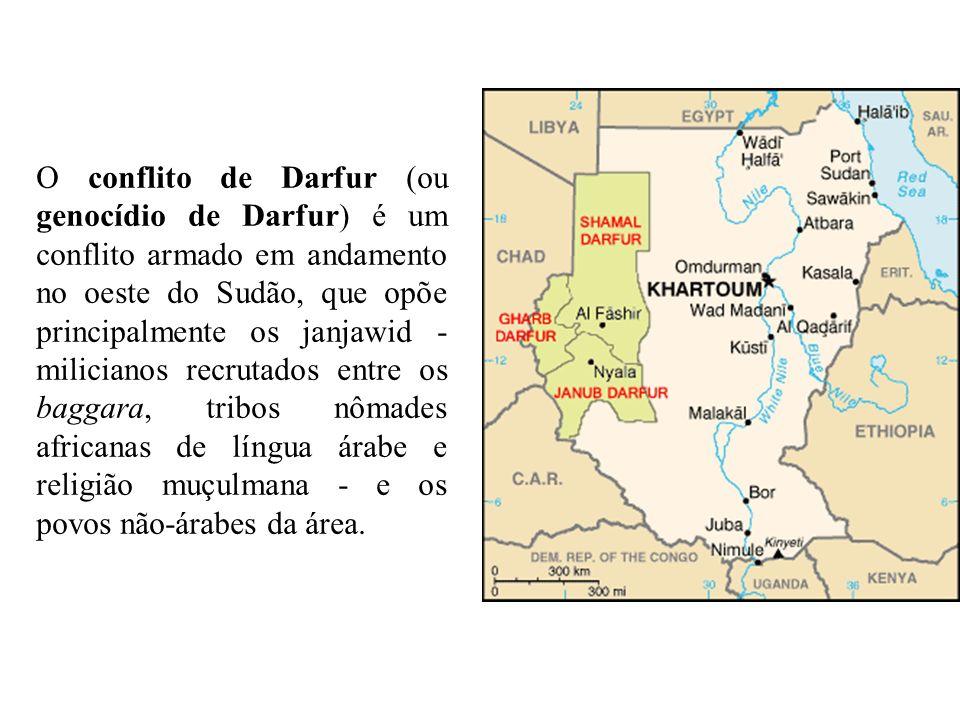 O conflito de Darfur (ou genocídio de Darfur) é um conflito armado em andamento no oeste do Sudão, que opõe principalmente os janjawid - milicianos re