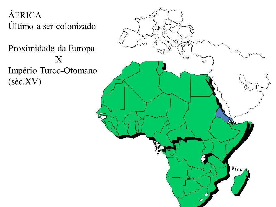 ÁFRICA Último a ser colonizado Proximidade da Europa X Império Turco-Otomano (séc.XV)