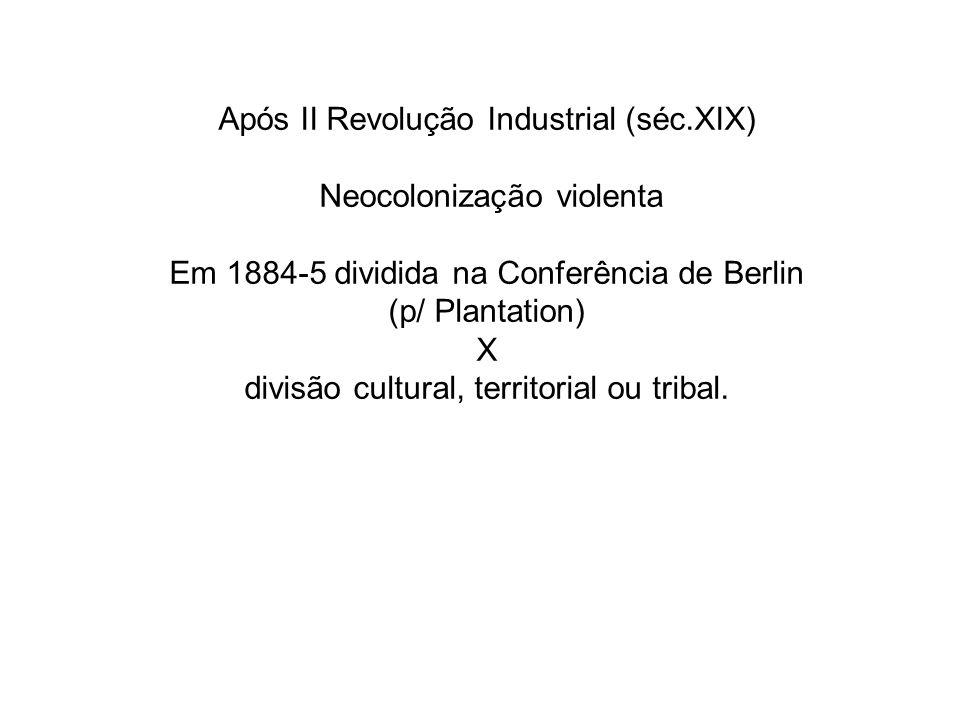 Após II Revolução Industrial (séc.XIX) Neocolonização violenta Em 1884-5 dividida na Conferência de Berlin (p/ Plantation) X divisão cultural, territorial ou tribal.