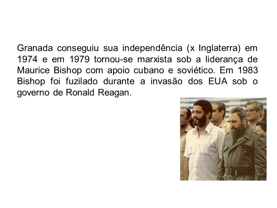 Após o fuzilamento de Bishop formou-se o Grupo de Apoio à Contadora (Argentina, Brasil, Peru e Uruguai) e em 1986 deram origem ao Grupo do Rio, único fórum político exclusivamente latino-americano no continente.