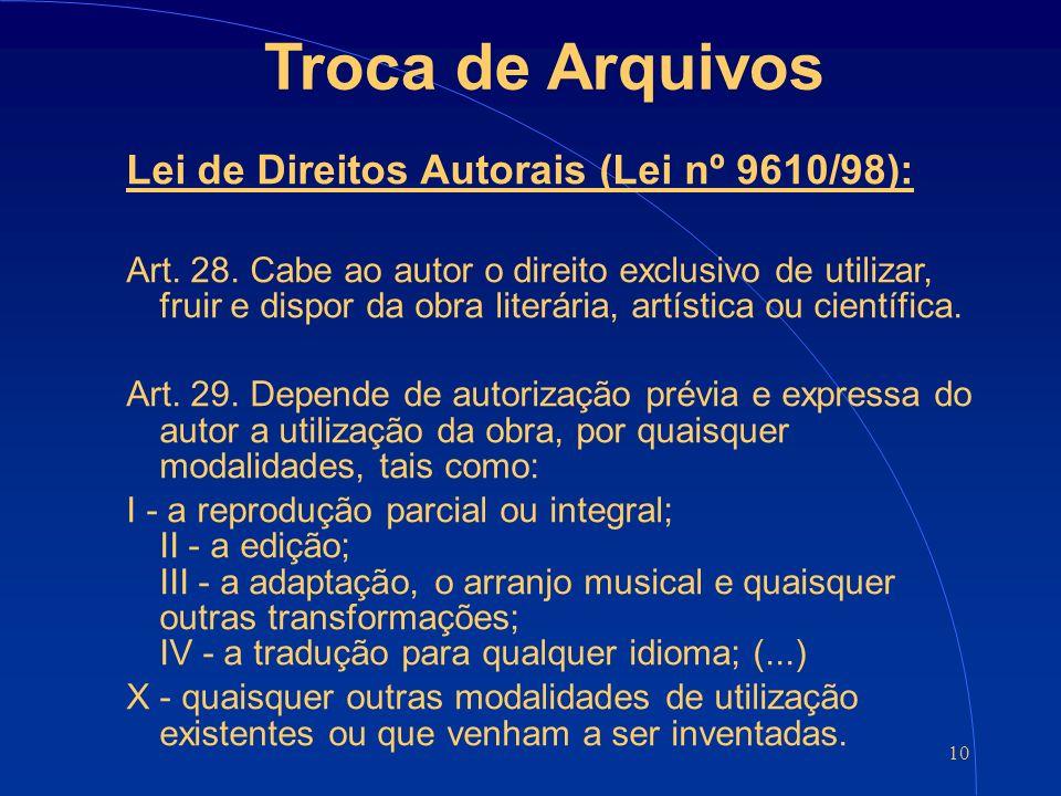 10 Troca de Arquivos Lei de Direitos Autorais (Lei nº 9610/98): Art.