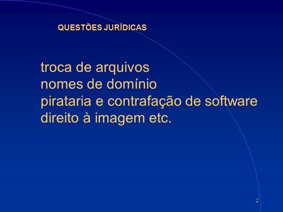 2 QUESTÕES JURÍDICAS troca de arquivos nomes de domínio pirataria e contrafação de software direito à imagem etc.