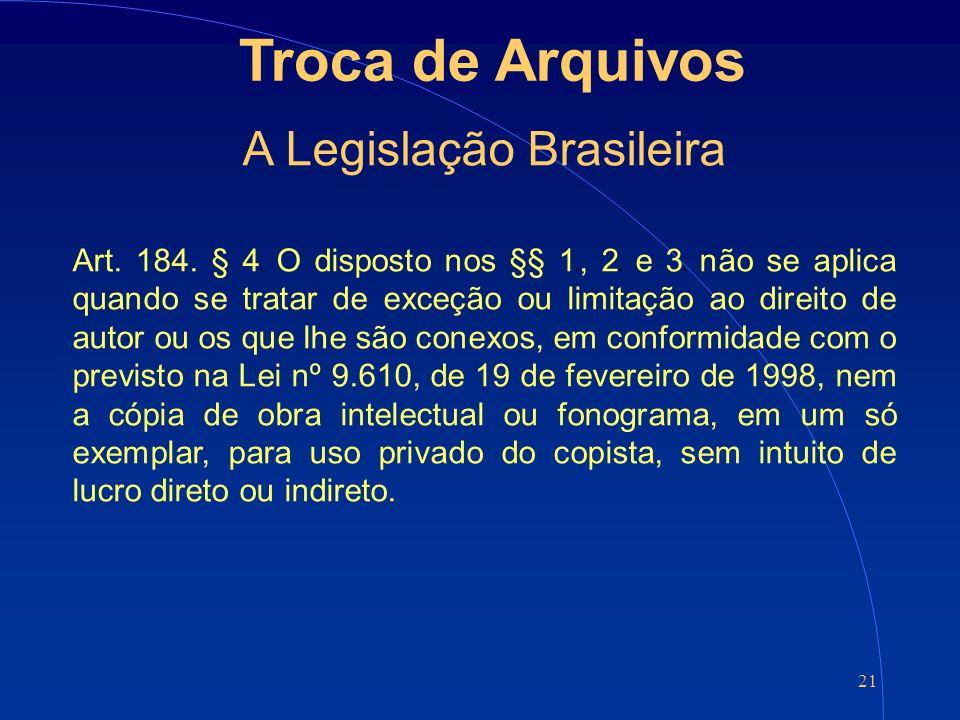 21 Troca de Arquivos A Legislação Brasileira Art. 184.