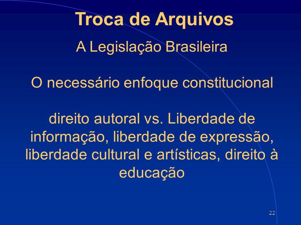 22 Troca de Arquivos A Legislação Brasileira O necessário enfoque constitucional direito autoral vs.