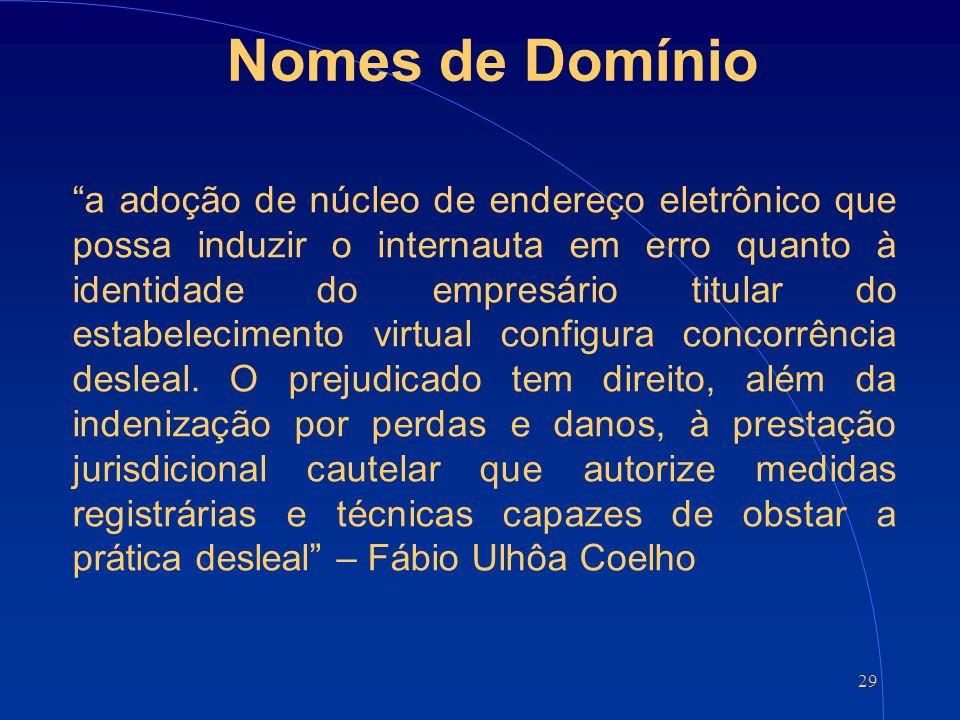 29 Nomes de Domínio a adoção de núcleo de endereço eletrônico que possa induzir o internauta em erro quanto à identidade do empresário titular do estabelecimento virtual configura concorrência desleal.