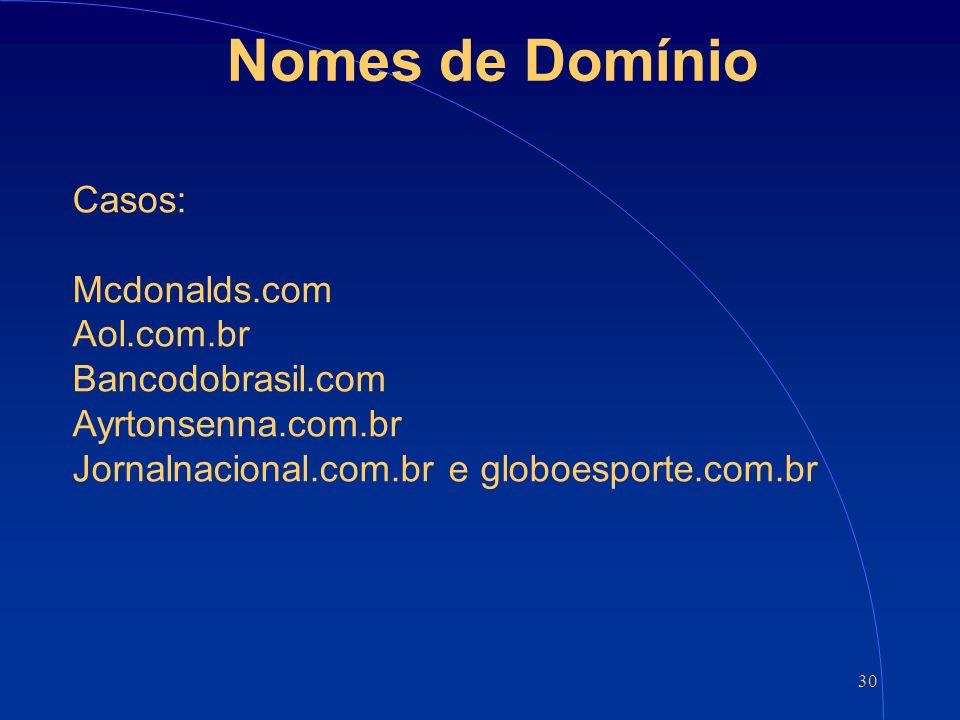 30 Nomes de Domínio Casos: Mcdonalds.com Aol.com.br Bancodobrasil.com Ayrtonsenna.com.br Jornalnacional.com.br e globoesporte.com.br